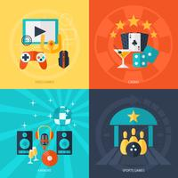 Conjunto de ícones plana de entretenimento