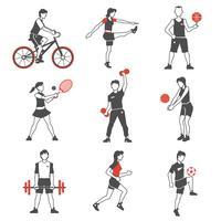 Esporte pessoas ícone preto vetor