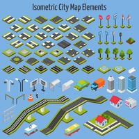 Elementos do mapa de cidade isométrica vetor
