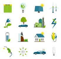 ícones planas de energia eco