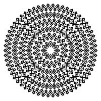 Texturas sem costura étnicas monocromáticas. Forma de vetor ornamental redondo isolada no branco