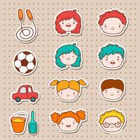 Doodle crianças enfrenta ícones vetor