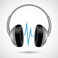 Fones de ouvido e cartaz de ondas sonoras