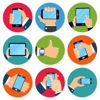 Mãos, segurando, dispositivos