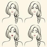 Conjunto de emoções faciais de mulher vetor