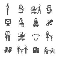 Conjunto de ícones de maternidade vetor