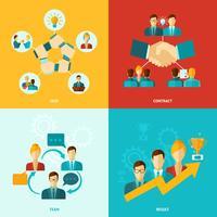 Ícones de trabalho em equipe planas