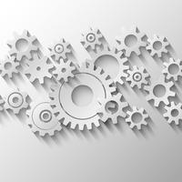 Emblema integrado de rodas dentadas e engrenagens vetor