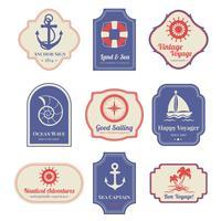 Conjunto de emblemas náuticos vetor