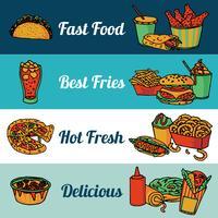 Conjunto de bandeiras de menu de restaurante fast-food vetor