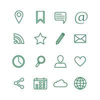 Conjunto de ícones de mídia social de contorno