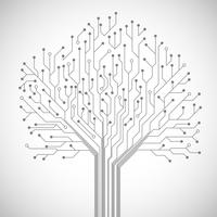 Cartaz de símbolo de árvore de placa de circuito vetor