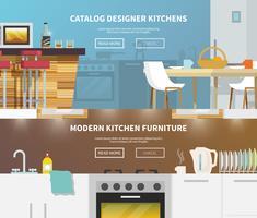 Banner de móveis de cozinha vetor