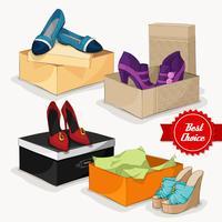 Coleção de moda de sapatos femininos vetor