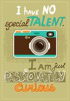 Cartaz de hipster com câmera vintage
