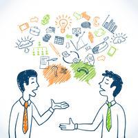 Conversa de negócios Doodle vetor