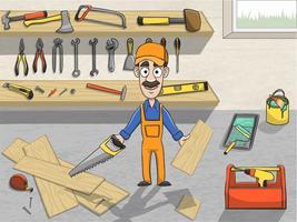 Personagem de carpinteiro feliz no trabalho vetor