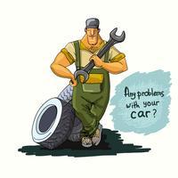 Mecânico de automóveis com chave e pneus