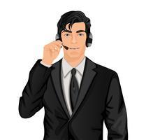 Homem representante do serviço ao cliente vetor