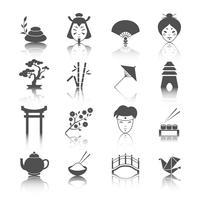 Conjunto de ícones de cultura japonesa