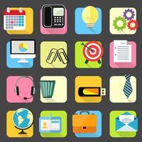 Conjunto de ícones de artigos de papelaria do escritório de negócios