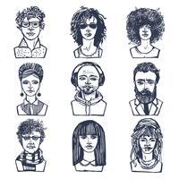 Conjunto de retratos de pessoas de esboço vetor