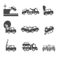 Ícones de acidente de carro preto e branco vetor