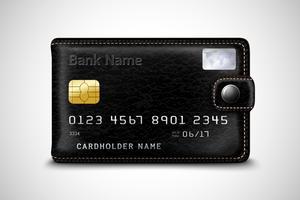 Conceito de cartão de crédito bancário de carteira preta vetor