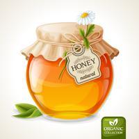 Pote de mel de vidro
