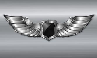 Emblema de escudo alado de metal preto vetor
