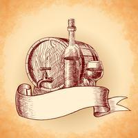 Fundo de vinho mão desenhada
