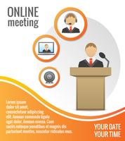 Pessoas negócio, reunião, cartaz, modelo