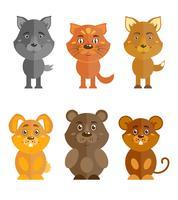 Conjunto de ícones de animais selvagens e domésticos vetor