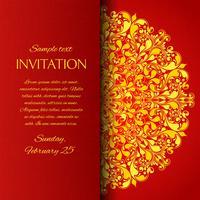 Cartão de convite ornamentais vermelho vetor