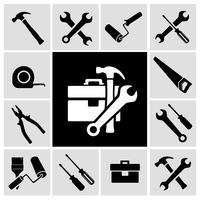 Conjunto de ícones pretos de ferramentas de carpinteiro