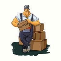 Entregador com caixas vetor