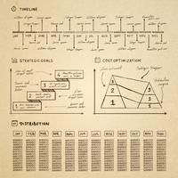 Elementos de infográficos de Doodle para apresentação de negócios vetor