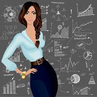 Fundo de doodle de mulher de negócios