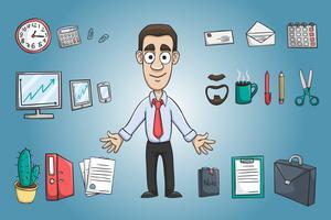 Homem negócio, personagem, pacote vetor