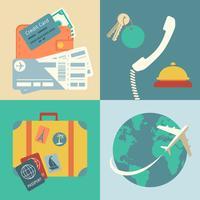 Conjunto de ícones de viagens de férias vetor