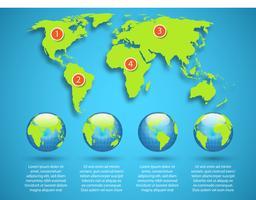 Mapa do mundo com modelo de infográfico do globo