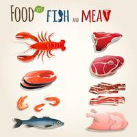 Conjunto de peixe e carne