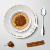 Copo branco realista com cappuccino vetor