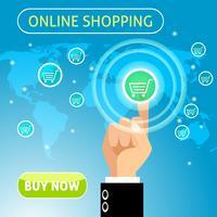 Compre agora o conceito de compras online vetor