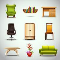 Ícones realistas de móveis