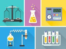 Conjunto de ícones decorativos de equipamento de laboratório
