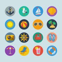 Ícones de férias do mar de verão