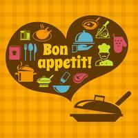 Cartaz de cozinhar bon appetit vetor