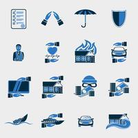 Conjunto de ícones de segurança de seguros vetor