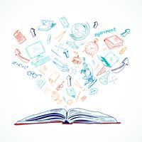 Doodle de conceito de educação de livro aberto